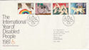 1981-03-25 Year of Disabled Bureau FDC (46016)