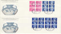 1972-05-24 Wedgwood Booklet Stamps Barlaston x4 FDC (51811)