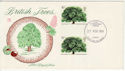 1974-02-27 British Trees Gutter Pair FDC (56411)