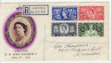 1953-06-03 Coronation Stamps Leicester Registered FDC (57094)