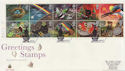 1991-02-05 Greetings Stamps Cyl Margin Wishford FDC (59493)