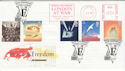 1995-05-02 Peace and Freedom Meter + London FDC (60401)