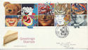 1990-02-06 Greetings Stamps Clowne FDC (60581)