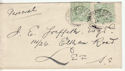 1902-10 KEVII �d Green x2 Used on Cover 1911 (60731)