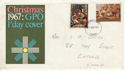 1967-11-27 Christmas Stamps 3d Missing Phos Error FDC (61153)
