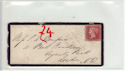 Queen Victoria 1d Red Used on Cover (61355)