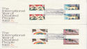 1981-03-25 Disabled Year Gutter Stamps Cambridge x2 FDC (61480)