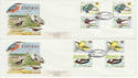 1980-01-16 Birds Gutter Stamps Slimbridge x2 FDC (61751)