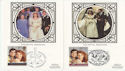 1986-07-22 Royal Wedding Stamps x2 Silk Cards (61765)