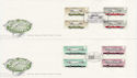 1982-10-13 Motor Cars Gutter Stamps x2 FDC (62304)