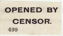 Opened By Censor 499 Label (64056)