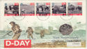 1994-06-06 D-Day Stamps + 50p Coin Portsmouth FDC (65430)