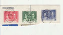 Ceylon 1937 Coronation Stamps used on Piece (65929)