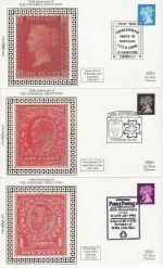 1990-01-10 Penny Black Anniv Set of 5 Benham Silk FDC (67215)