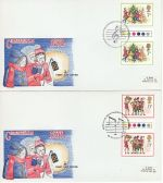 1978-11-22 Christmas T/L Gutter Stamps Part Set x2 FDC (68426)