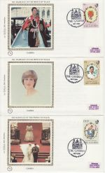 1981-07-22 Gambia Royal Wedding Stamps x3 FDC (68838)