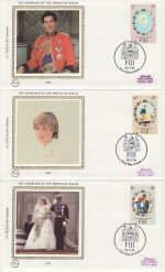 1981-07-22 Fiji Royal Wedding Stamps x3 FDC (68839)