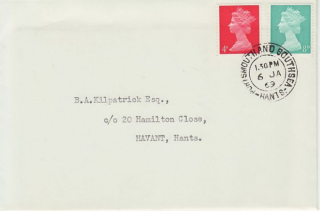 1969-01-06 Definitive Stamps Hants cds FDC (69437)