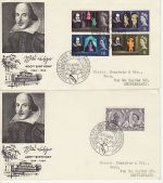 1964-04-23 Shakespeare Stamps Stratford x2 FDC (69842)