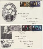 1964-04-23 Shakespeare Stamps x2 FDC (72770)