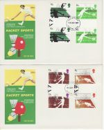 1977-01-12 Racket Sports Gutter Stamps x2 FDC (73153)