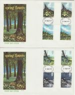 1979-03-21 British Flowers Gutter Stamps x2 FDC (73176)