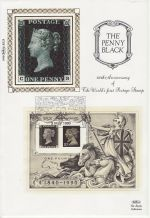 1990-05-03 Penny Black Anniv M/Sheet NPM London FDC (74009)