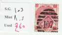 1867-80 QV SG103 3d plate 5 used stamp (qvb50)